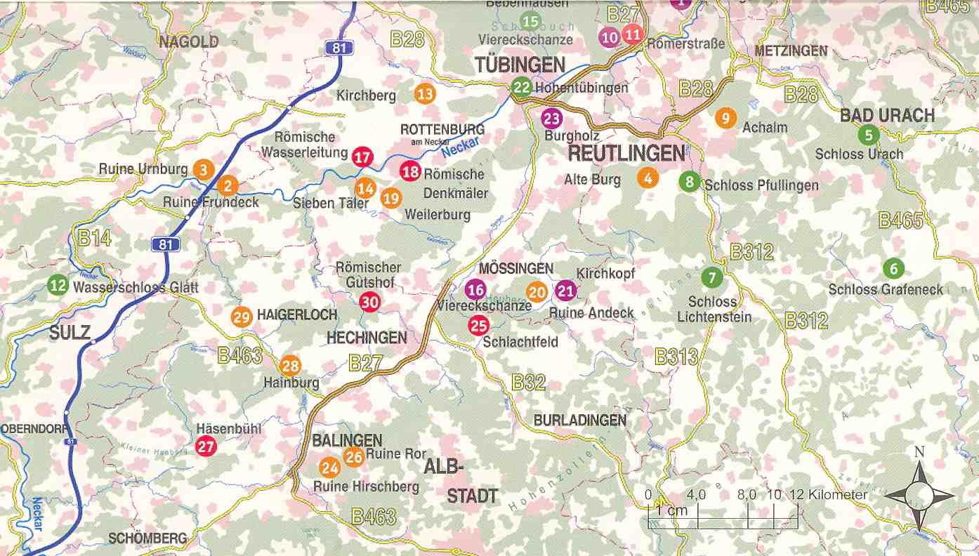 Schwäbische Alb Karte Städte.Neckar Alb Donau De Ausflugsführer
